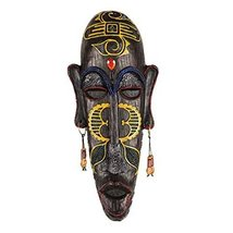 George Jimmy Medium-Sized Carved African Mask Wall Hanging Africa Decor Wall Art - $58.23