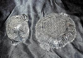 GlassCreamer and Serving Tray with Detailed AA18-11894VintageHeavy Etched image 4