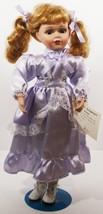 Doll Porcelain Hand Painted Blond Purple Dress Brown Eyes (B16B28) - $59.99