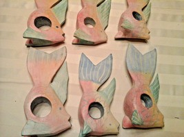 6 tropical fish napkin holders pastel blue pink teal yellows hand carved  - $10.88