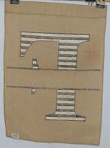 Kate Winston Brand Brown Burlap Monogram Black White F Garden Flag image 2