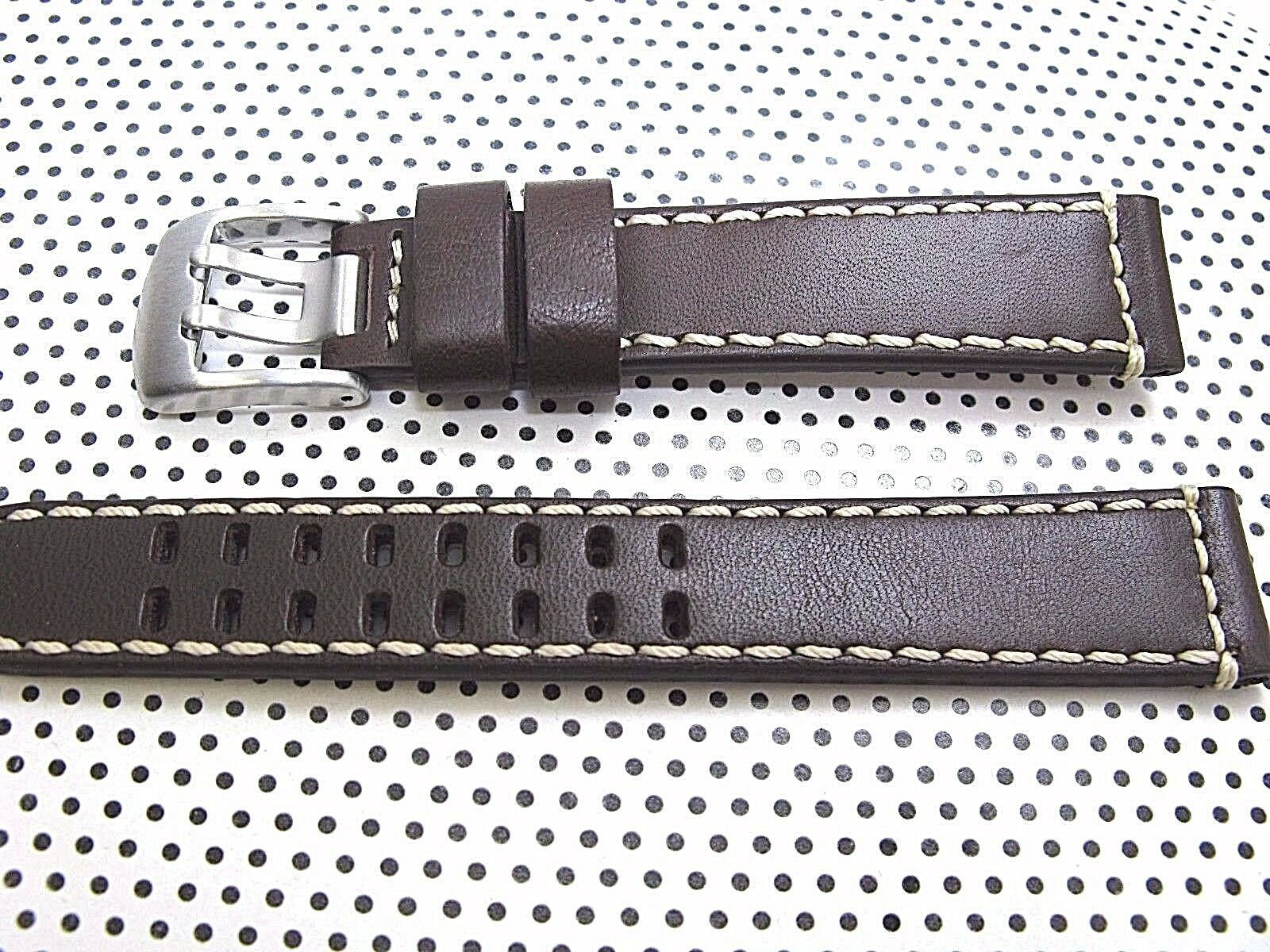 ARCADIA 18mm Italian Genuine Leather Watch Band Strap-Calf khaki & seamaster