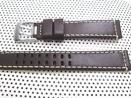 ARCADIA 18mm Italian Genuine Leather Watch Band Strap-Calf khaki & seamaster image 1