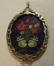 Butterfly Flowers Suncatcher Brass Ornate Frame Purple Tulip Daisy Victo... - $14.54
