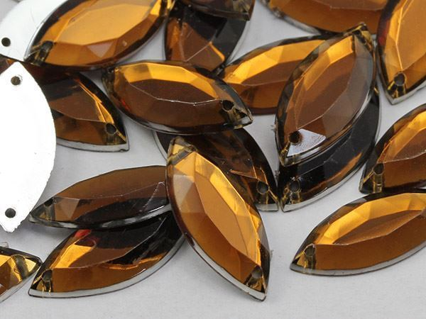 20x9mm Smokey Topaz CH25 Navette Flat Back Sew On Gems For Craft 50 PCS