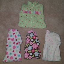 4 Pairs Footie Pajamas Lot 3 Months Baby Girl Carter's Pink Fleece Flora... - $19.75