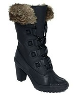 Womens Shoes Juicy Couture J870328 PAIGE Heel Lace Up Boots Black Action... - $161.10