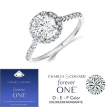 14K Gold 1.50 Carat Moissanite Forever One Halo Style Ring (Charles & Co... - $799.00