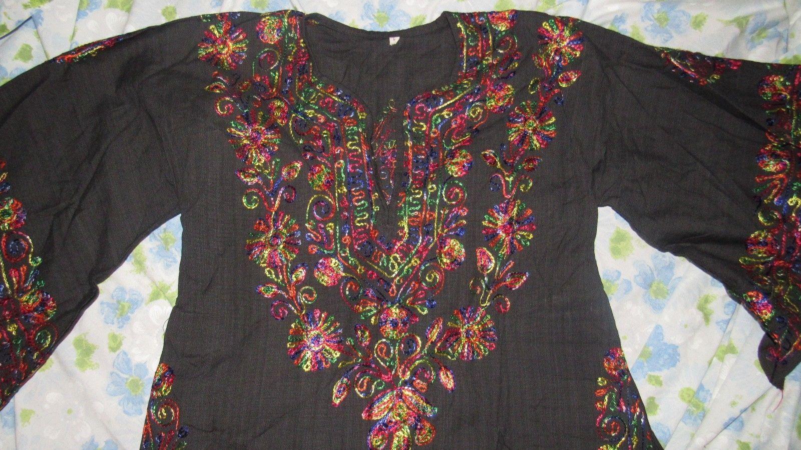 VTG Black Rainbow Embroidery Folk Festival Women's Kaftan Blouse BOHO Peasant L