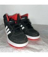 Adidas Boys Hoops 2.0 B75743 Lace Up Round Toe Black Red Running Shoes S... - $40.10