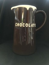 """Large Pottery Barn Full Size Chocolate Pitcher with White Rim 9.5"""" Tall - $26.75"""