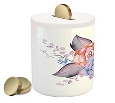 Succulent Piggy Bank by Lunarable, Boho Style Bouquet Romantic Summer Bl... - $30.63