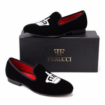 Handmade FERUCCI Men Black Velvet Slippers Flats loafers with Silver Crown - $129.99