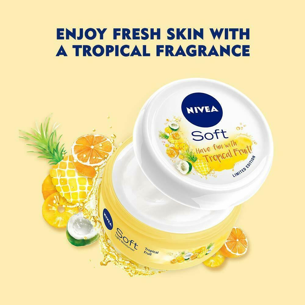 NIVEA Soft Light Moisturizer Cream Tropical Fruit With Vitamin E & Jojoba Oil