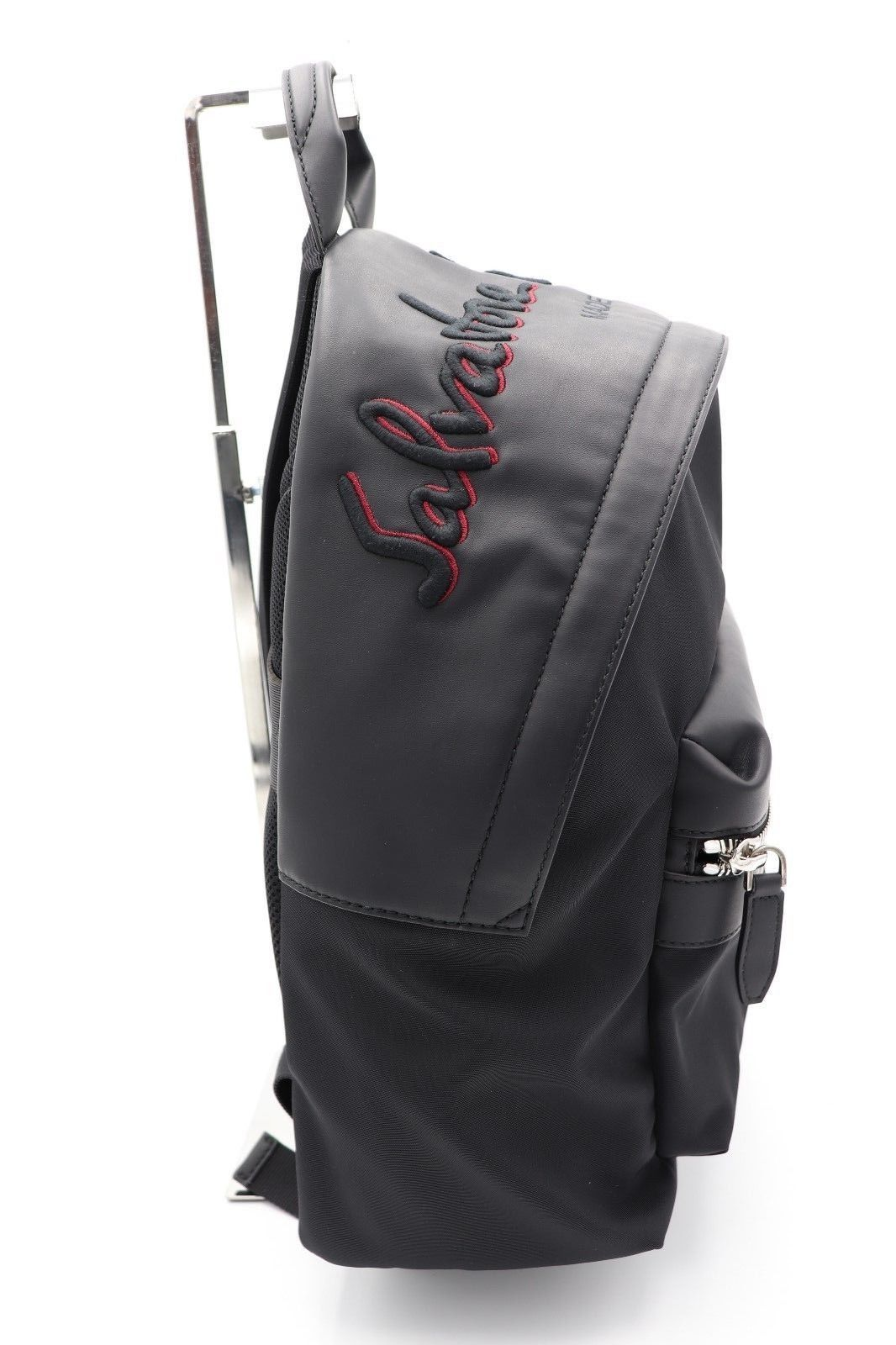 cf07fd9ab8 NWT Salvatore Ferragamo Black Red Leather Nylon Embroidered Logo Backpack  Bag