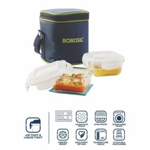 Borosil Glass Lunch Box Set of 2, 320 ml, Vertical, Microwave Safe Offic... - $27.20