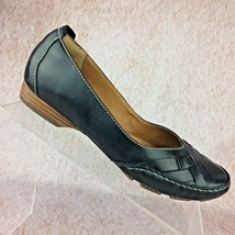 Clarks Artisan Fara Paige Sz 7.5 US Black Woven Leather Ballet Flat / We... - $23.72