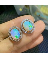 4.30Ct Oval Cut Fire Opals Elegant Push Back Halo Earrings 14K White Gol... - $118.99