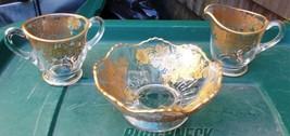~~ Vintage Glass Sugar & Creamer & Bowl W/Gold Rim & Gold Embossed Flowe... - $25.00