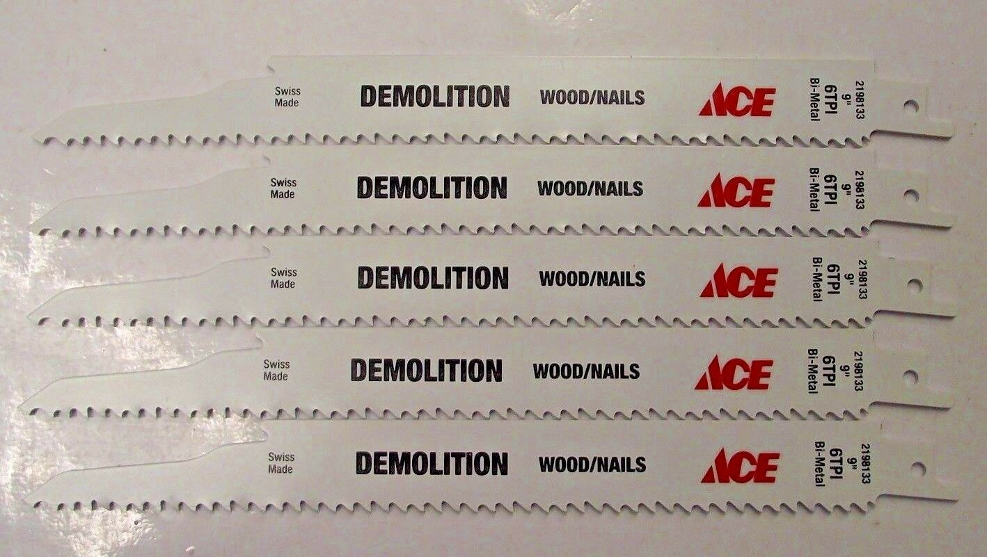 "Primary image for Ace by Bosch 9"" x 6 TPI Demolition Bi-Metal Reciprocating Blades 2198133 5PCS"