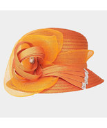 Ginga's Galleria Orange Bow Accented Flower Dressy Derby Hat - $43.50