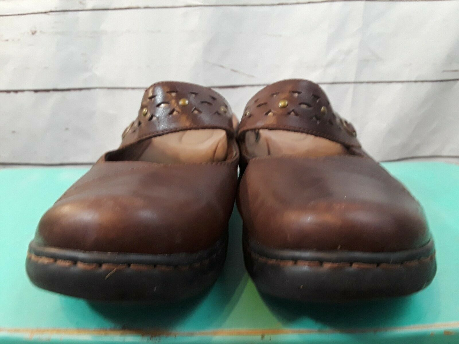 CLARKS  Women's Leather Brown Slip On Mules Mary Jane Shoes SZ 7.5