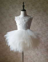 WHITE Lace Tutu High Waist Dress White Knee Length Wedding Flower Girl Dress NWT image 7