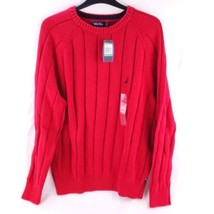 Nautica Men's Red Christmas Winter Holiday Cable Knit Sweater Size Large... - $27.79