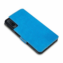 Galaxy A7 PLUS 2018  Folio Wallet Leather Protective Case Cover Stand  BLUE LUXA - $15.79