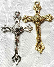 CRUCIFIX CROSS FINE PEWTER PENDANT - 25mm L x 44mm W x 5mm D