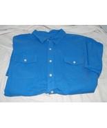 IZOD Seaside Poplin Pocket S/S Button Front Blue Revival Shirt in 2XL 18454 - $28.75
