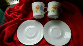 Corelle Corning Summer Blush Cups X 2 + 2 Saucers Free Usa Ship - $18.69