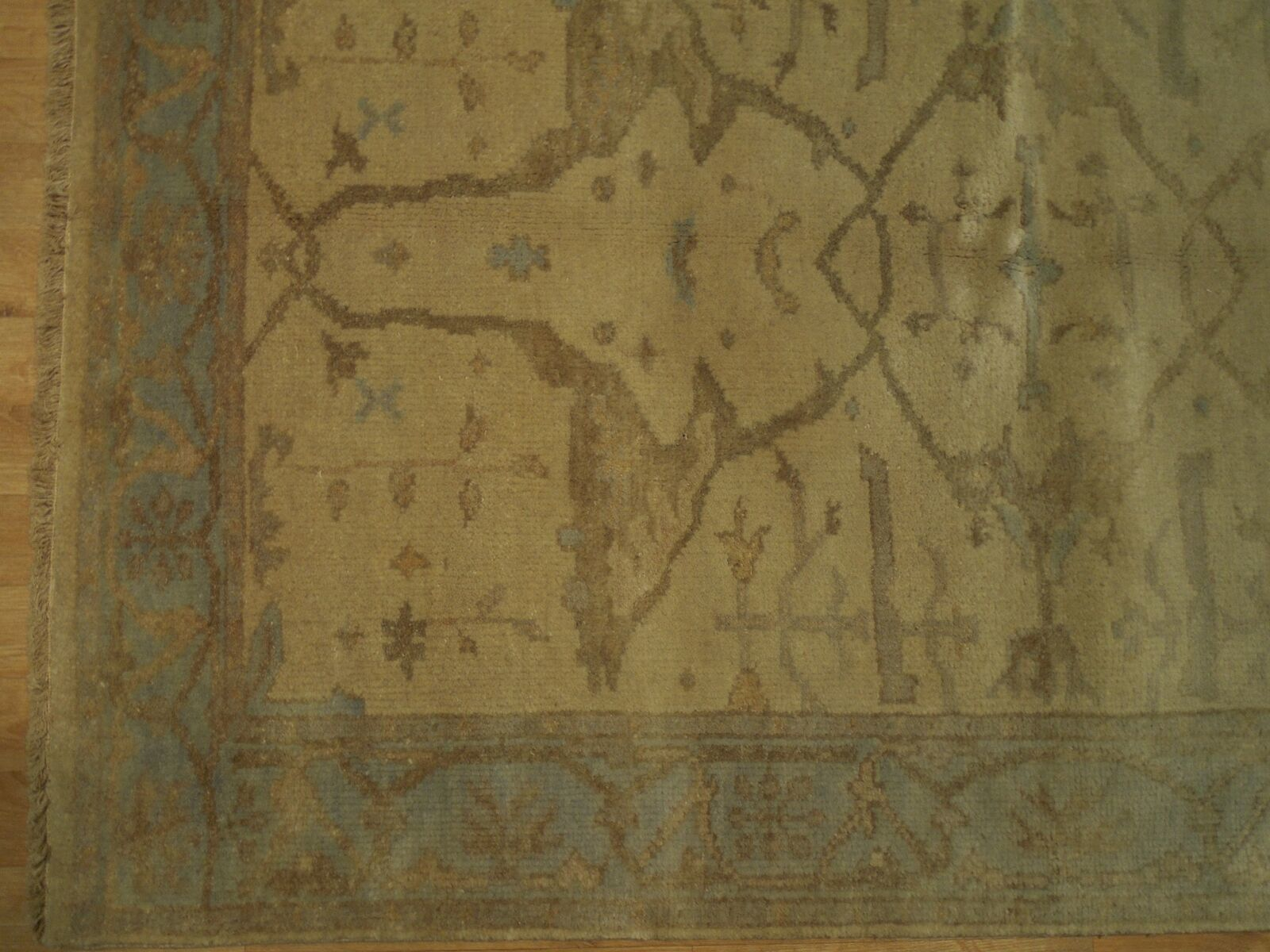 Soft New Indian Genuine Hand-knotted 4 x 6 Ivory Oushak Wool Rug