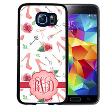 MONOGRAMMED RUBBER CASE FOR SAMSUNG S8 S7 S6 S5 EDGE PLUS HIGH HEEL FLOW... - $12.98