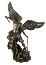 St. Michael The Archangel Bronze Look Statue Saint - $57.41