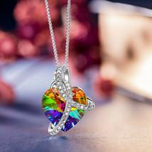 925 Silver Aurora Borealis Heart Pendant Necklace Made with Swarovski Cr... - £7.84 GBP