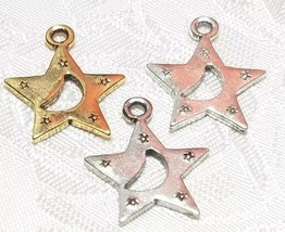 STAR WITH MOON FINE PEWTER PENDANT CHARMS - 2x21x18mm