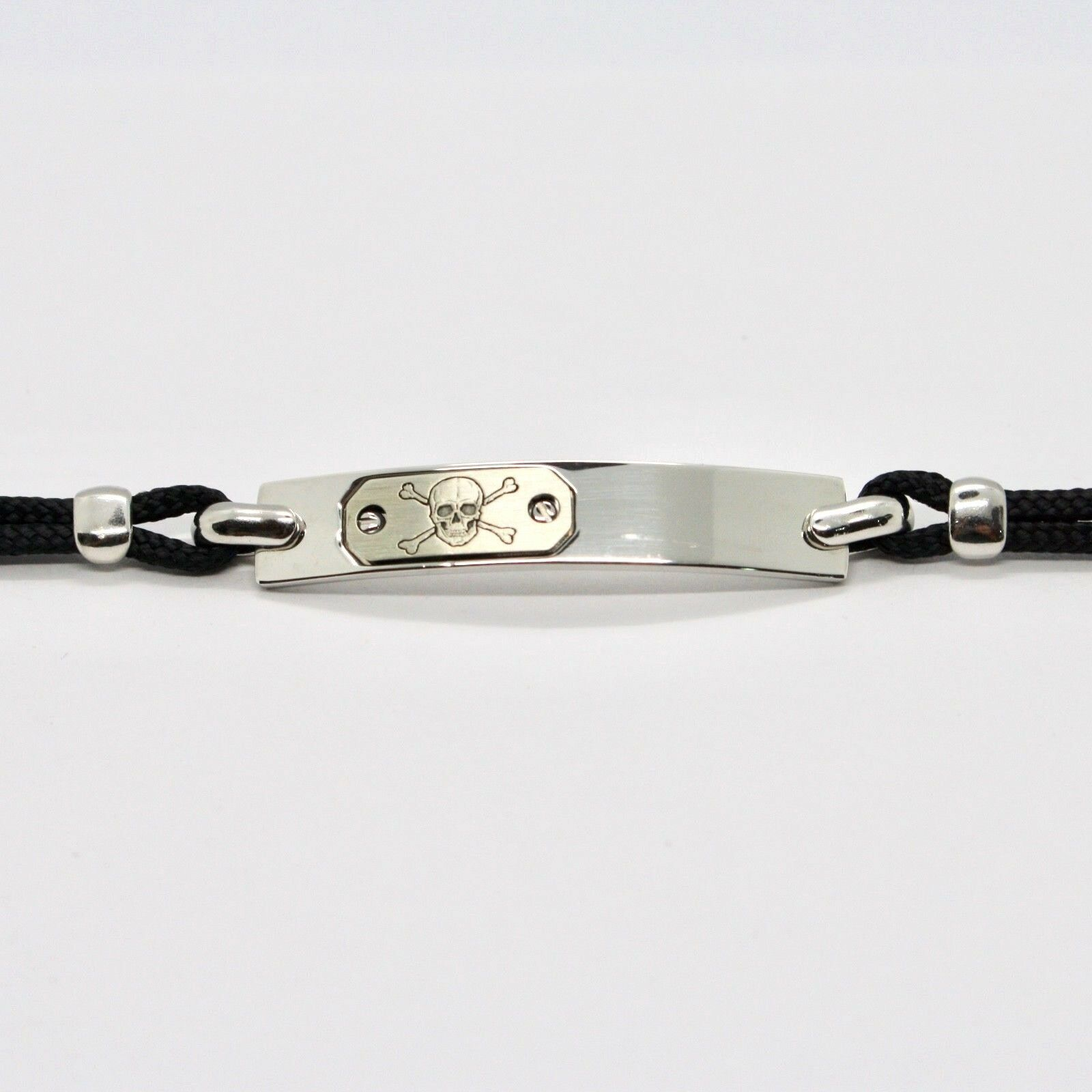 Silver Bracelet 925 Rhodium with Plate with Skull Engraved and Cord 18 CM