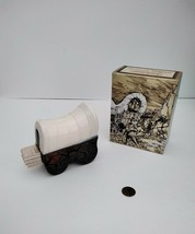 Vintage Avon Spicy After Shave Covered Wagon Bottle Full With Box - $14.84