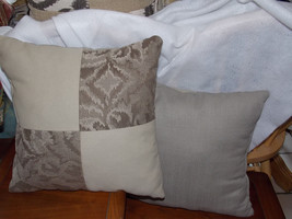 Pair of Taupe Beige Patchwork Print Throw Pillows  16 x 16 - $49.95