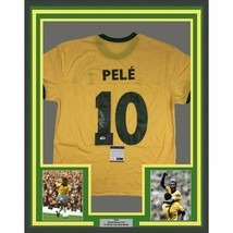 FRAMED Autographed/Signed PELE 33x42 Brazil Yellow Soccer Jersey PSA/DNA... - $649.99