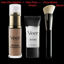 NEW VEER ILLUMINATING FACE PRIMER +HD Studio FOUNDATION +BRUSH + GIFT C... - $49.95