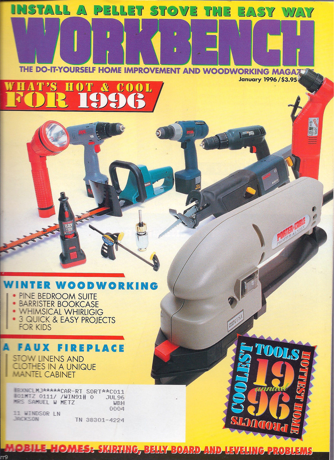 Primary image for Workbench January 1996 The Do-It-Yourself Magazine/  Pellet Stoves