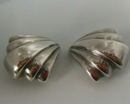 Vintage Stamped Bayanihan 925 Sterling Silver Large Clip-On Earrings - $64.35
