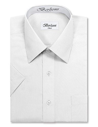 Berlioni Italy Men's Premium Classic Button Down Short Sleeve Dress Shirt (L (16