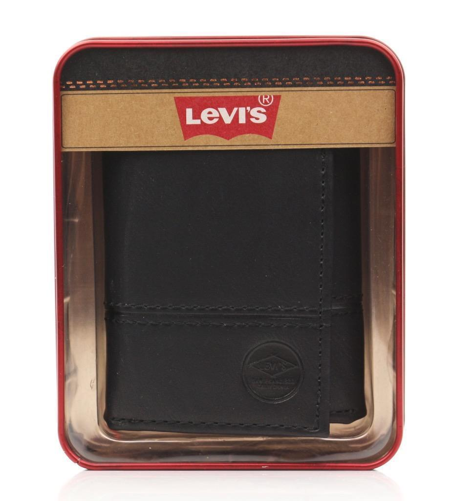 NEW LEVI'S MEN'S PREMIUM LEATHER CREDIT CARD ID WALLET TRIFOLD BLACK 31LP110010