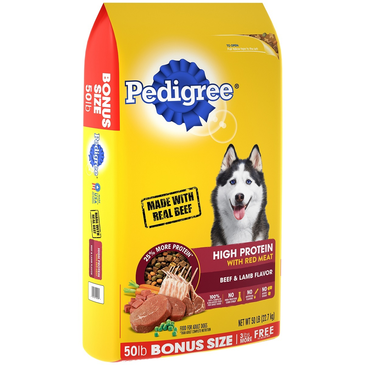 PEDIGREE High Protein Adult Dry Dog Food Beef and Lamb Flavor, 50 lb - $36.90