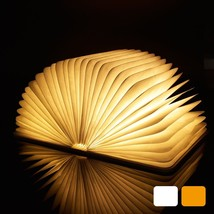 LED Book Night Light Lamp USB Port Rechargeable Wooden Magnet Cover Port... - $58.04