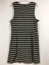 J.Crew Factory Sleeveless Scoopneck Black & Beige Striped Midi Dress Size XL  image 3