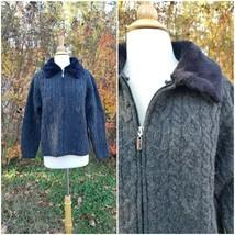 Vintage Talbots women wool gray cardigan braid knit soft sweater fur col... - $28.71